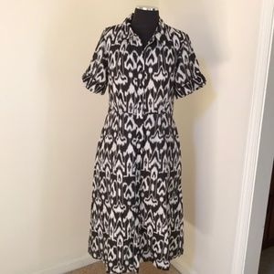Talbots size 8 brown combo button down midi dress